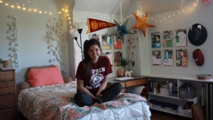 Student in Residence Hall Room