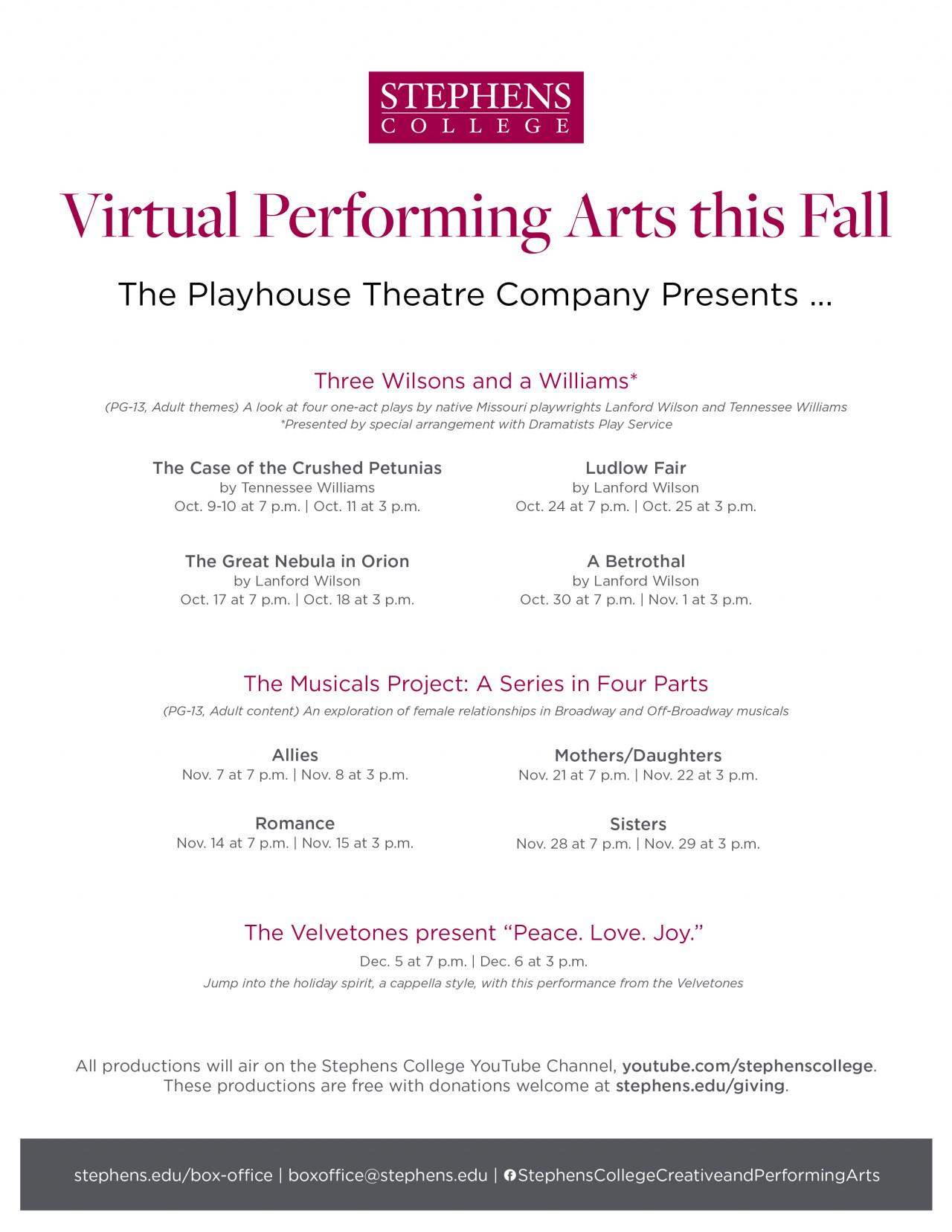 Fall 2020 Virtual Performing Arts Season
